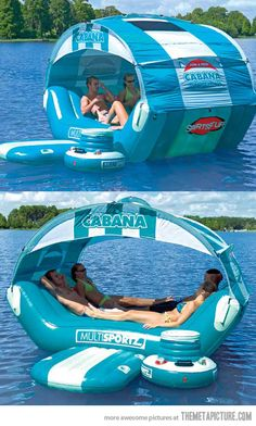 floating cabana. cooler & all! I'd deff go in the water with this...