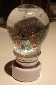 Light Bulb Snow Globe by ChrysN via instructables who uses an LED candle for the base. #Light_Bulb_Snow_Globe #instructables #ChrysN