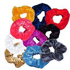 Kirbee 10 Pack Hair Elastics Scrunchies Velvet Scrunchy Bobbles Soft Elegant Elastic Hair Bands Hair Ties,… Review