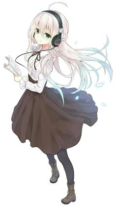 Anime picture with coco no voice tsukishima kaguya azuuru long hair single tall image blush looking at viewer blue eyes simple background fringe white blue hair white hair standing holding ahoge wind from above adjusting hair Pretty Anime Girl, Beautiful Anime Girl, Kawaii Anime Girl, Anime Art Girl, Anime Love, Anime Girls, Manga Girl, Manga Pokémon, Chica Anime Manga