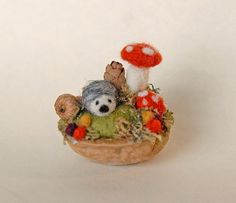 Tiny Hedgehog and Mushrooms Needle Felted Walnut by gingerlittle