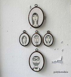 Set of 5 Custom Family PortraitPersonalized by polykatoikia