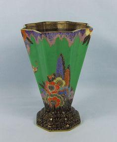 CROWN DEVON FIELDINGS 1930's ART DECO FLOWER & BUTTERFLY STAR SHAPE VASE