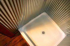 Galvanized shower walls