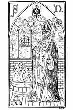 St Nicholas with bag and tub coloring page St Nicholas