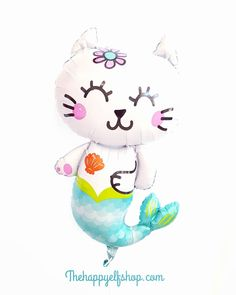 "NEW! 31"" Mermaid cat balloon 🐈 Available @#thehappyelfshop.com #thehappyelf #thehappyelfshop #balloons🎈 #balloons #partyshop #partytrends… Cat Balloon, Mermaid Cat, Party Shop, 4th Birthday, Elf, Hello Kitty, Balloons, Cats, Happy"