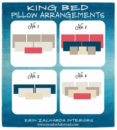 King Bed Pillow Arrangement Ideas since we don't have king sized pillows. Closet Bedroom, Dream Bedroom, Home Bedroom, Bedroom Ideas, Master Bedrooms, Bedroom Furniture, Small Bedrooms, Master Suite, Bedroom Headboards