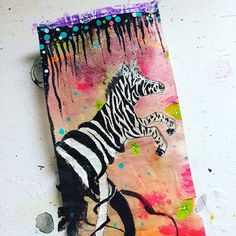 """This tea bag beauty was inspired by Roxanne Cobles @bybun """"sudden"""" and will soon be off to it's new home 🍃 #cre8TEAvity #teabagart #teabag #goldenpaints #mixedmedia #mixedmediaonateabag #mischraart #zebra"""