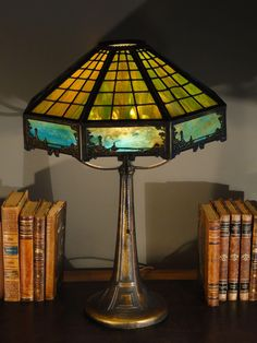 Beautiful slag glass lamp great slag glass shade with greens gorgeous bradley hubbard arts crafts scenic 16 panel slag glass lamp aloadofball Image collections