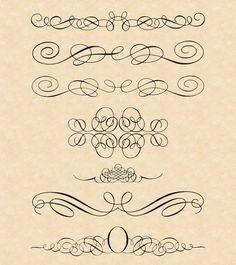 エレガントで高品位なカリグラフィーエレメンツの詰め合わせ。 全体的にシンプルデザインの素材が多い…