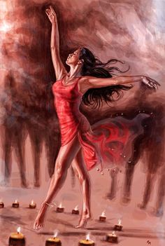 it's a painting inspired from an idea/vision by two dear friends ------------- Commissions Info Raffaele Marinetti Art Dancer in Red Foto Fantasy, Fantasy Art, Art Ballet, Art Sketches, Art Drawings, Pencil Drawings, Dance Paintings, Arte Pop, Watercolor Portraits