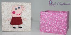 Caixa em MDF (madeira) trabalhada com tecido e patchwork embutido! Peppa Pig