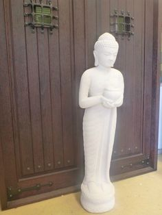 Standing Buddha Bali Garden Statue Cement Casting Limestone Finish H150cm