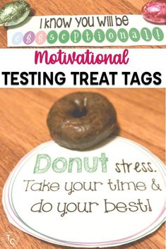 Motivate your students and encourage them to do their best on state tests with these testing treats. Students will love their treats including donuts, Tootsie Rolls, Crunch bars, candy canes, and more. These free motivational testing treat tags for kids will be a hit during standardized testing.