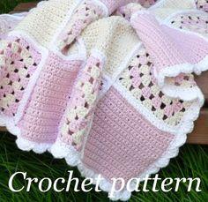 Crochet Pattern Sweet Dreams Baby Blanket This is so pretty. I wish I could crochet! Point Granny Au Crochet, Baby Afghan Crochet, Granny Square Crochet Pattern, Baby Afghans, Crochet Blanket Patterns, Crochet Stitches, Knitting Patterns, Baby Blankets, Crochet Blankets