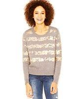 RACHEL Rachel Roy Long-Sleeve Foiled Striped Sweater