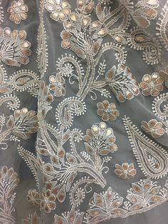 Ready to Ship - Light Grey Lucknawi Chikankari Sari with Gota Patti Work Embroidery Suits, Hand Embroidery Designs, Beaded Embroidery, Embroidery Patterns, Chikankari Suits, Art Textile, Indian Designer Outfits, Kurta Designs, Textiles