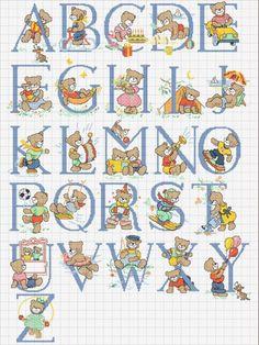 alfabeto padrão de ponto-cruz com ursos: