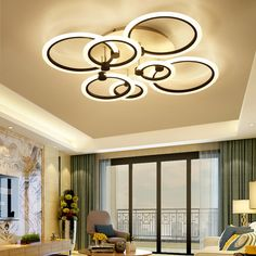 Lights & Lighting Ceiling Lights & Fans Beautiful Black/white Finished Chandeliers Led Circle Modern Chandelier Lights For Living Room Acrylic Lampara De Techo Indoor Lighting 2019 Latest Style Online Sale 50%
