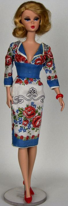 Blue and red empire waist dress for Silkstone Barbie, made from vintage hankie by HankieChic, on Etsy now