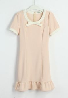 Light Orange Bow Collarless Midi Cotton Dress