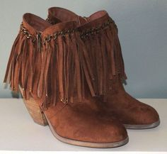 6dc9ca9e07a2d Not Rated Ankle Boots Fringe Brown Fabric Womens Size 7 #NotRated  #AnkleBoots #Casual