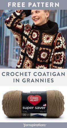 Crochet Cardigan Pattern Free Women, Crochet Jacket Pattern, Crochet Coat, Crochet Shirt, Granny Square Crochet Pattern, Easy Crochet Patterns, Crochet Clothes, Grannies Crochet, Granny Square Sweater