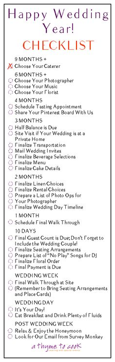 Planning Your Happy Wedding Year Checklist!