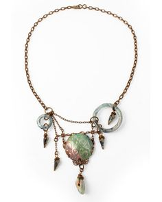 """Designer:Betsy Kaage  Inspired by Vintaj Brass February 2013 """"Northern Lights"""" Theme.  Beads available from Unicorne Beads"""