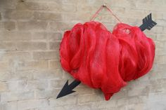 A Deco Mesh Valentine Wreath