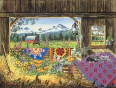 """Hole in the Barn is a 500 piece jigsaw puzzle from SunsOut. Puzzle measures 24"""" x 18"""" when complete. Artwork by Diane Phalen.   SunsOut puzzles are 100% made in the USA Eco-friendly soy-based inks Recycled boards Not sold in mass-market stores"""