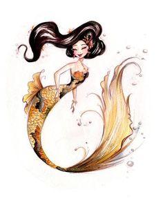 Gold Koi Mermaid art by Liana Hee Fantasy Kunst, Fantasy Art, Fantasy Creatures, Mythical Creatures, Mermaid Art, Tattoo Mermaid, Mermaid Sketch, Manga Mermaid, Mermaid Images