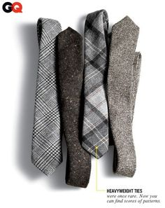 7. Winterize Your Ties We're not gonna try to tell you wool ties are going to save you from frostbite or the shivers. They just look real good with heavyweight fabrics like your flannels and tweeds. A shiny silk tie doesn't jibe with corduroy. Ties, from left: Black Fleece by Brooks Brothers, $125 Gitman Vintage, $80 Alexander Olch, $140 Riviera Club, $125 Read More http://www.gq.com/style/wear-it-now/201111/harry-shum-suits-coats-style-winter-gq-november-2011#ixzz1e16lmXd5: