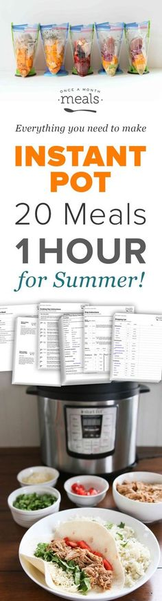 Throw together 20 summer meals in less than an hour for your Instant Pot pressure cooker with this quick and easy freezer meal plan of go-to dinners! via @onceamonthmeals