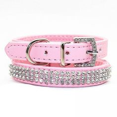 Rhinestones Necklaces For Small Dog Collar Perro Dog Accessories PU Leather Pet Dog Collars Puppy Collar Animals 3 Size Pink Leather Cat Collars, Pu Leather, Bandana, Puppy Collars, Dog Bag, Bling, Pet Clothes, Dog Accessories, Pet Dogs