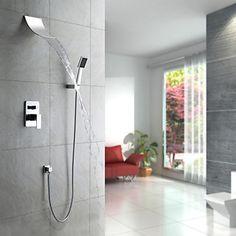 Modern Douchesysteem Waterval Inclusief handdouche with Keramische ventiel Single Handle Vijf Gaten for Chroom Douche