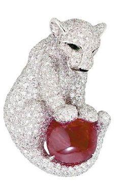 Cartier diamond, ruby, and platinum brooch