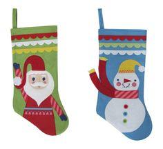 "Holiday Snowman/Santa Felt Stocking 17.25"""