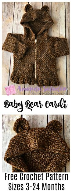 Look at this adorable crochet baby cardigan! Those bear ears make this one of the cutest crochet sweaters I have ever seen. Free Crochet Pattern in Sizes months Crochet Baby Sweaters, Crochet Baby Cardigan, Crochet Baby Clothes, Baby Knitting, Crochet Dresses, Crochet Toddler, Crochet For Kids, Free Crochet, Knit Crochet