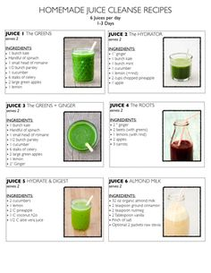 Homemade Juice Cleanse Recipes.  6 juices per day.  1-3 days