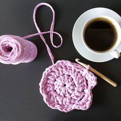 Sunday coffee ☕☕☕with #bobbiny  #pink #chunky #yarn #coaster #coffee #crochet #instacrochet