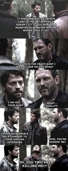 Poor oblivious Castiel! When faced against smart ass Benny he doesn't stand a chance :) I loved Benny almost as much as Cas shame he's no more :(