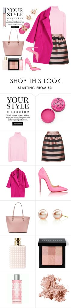 """Pink at winter..."" by gul07 ❤ liked on Polyvore featuring Pussycat, Jil Sander, Topshop, Christian Louboutin, Kate Spade, Valentino, Bobbi Brown Cosmetics and Victoria's Secret"