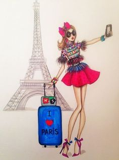 Illustration Paris, Illustrations, Fashion Art, Girl Fashion, Paris Fashion, Trendy Fashion, Paris Tour, Paris Painting, Modelos Fashion