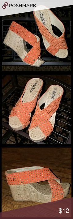"""Check List Platform Wedge Sandals Orange wedge sandals w/gold studs and cork """"look"""" platform. Two studs are missing, can be seen in  3rd pic.  Price adjusted , otherwise great condition. All materials  man made. Check List Shoes Wedges"""