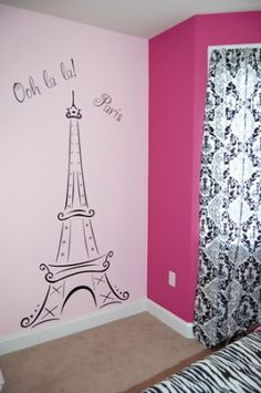 Eiffel Tower Ooh La La Paris Vinyl Wall Decal Sticker x Black) Paris Room Decor, Paris Rooms, Paris Theme, Girl Bedroom Walls, Bedroom Themes, Girl Room, Bedroom Decor, Simple Wall Paintings, Wall Painting Decor