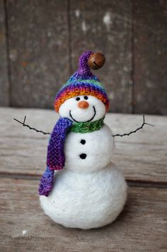 Snowmen Solid wool needle felted Snowman 603 by BearCreekDesign