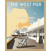 Poster The West Pier, Brighton von Dave Thompson, Retro-Werbung East Urban Home Art Deco Illustration, Art Deco Posters, Vintage Travel Posters, Modern Posters, East Sussex, Brighton Sussex, Brighton Uk, Portsmouth, Party Vintage