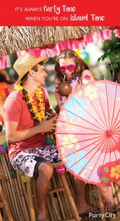 From hula skirts to Hawaiian shirts, no one has more luau for less than Party City! Say 'aloha' to your guests from behind our tiki buffet table, then cool yourself off with coconut sippy cups, floral umbrellas and, of course, tons of lei's!