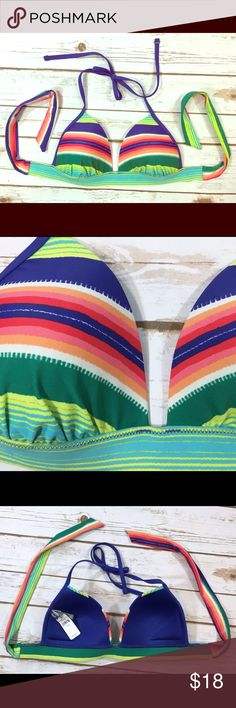 """Aerie Perky Triangle Bikini Top Aerie """"Perky Triangle"""" multicolored striped bikini swimsuit top. Has padded cups. Retail $32.95.  **Listing is for the top ONLY.**  Labeled a size Medium.   Brand new with tags. No flaws to note. aerie Swim Bikinis"""